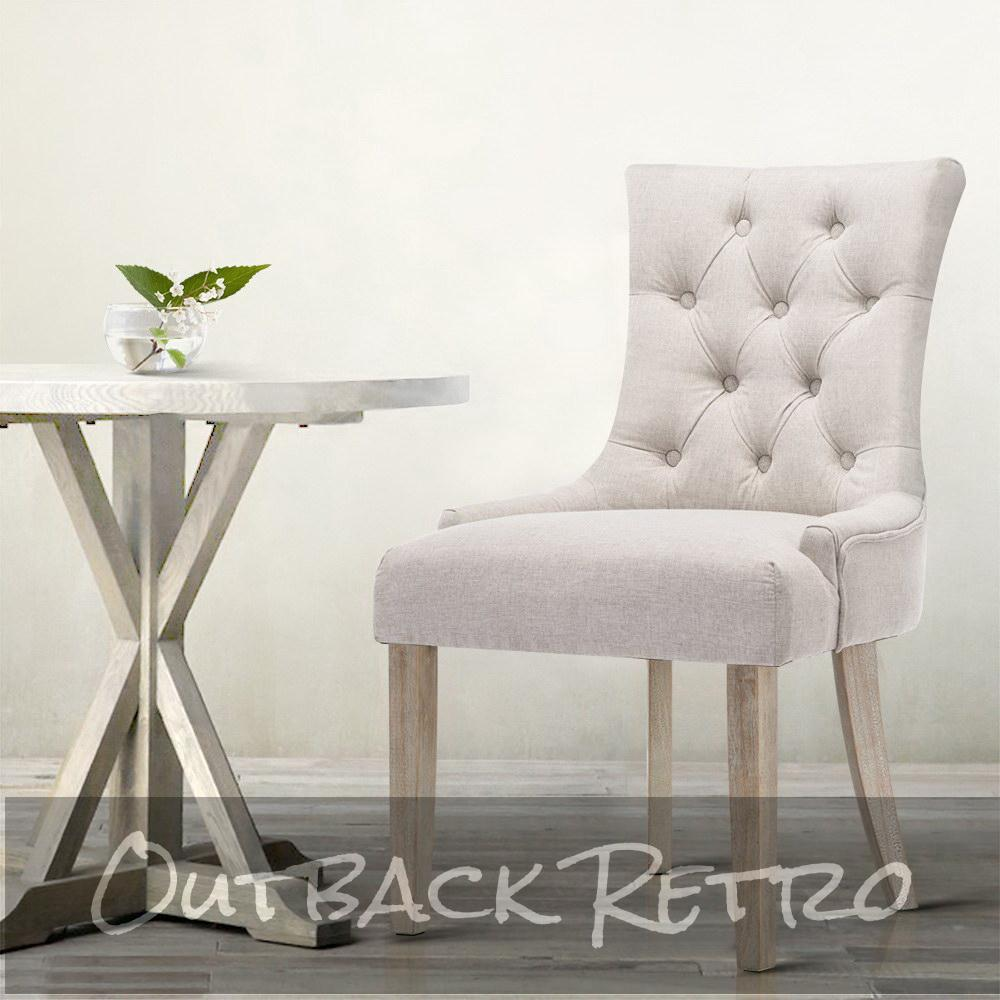 Artiss 2x Dining Chair Beige CAYES French Provincial Chairs Wooden Fabric Retro Cafe