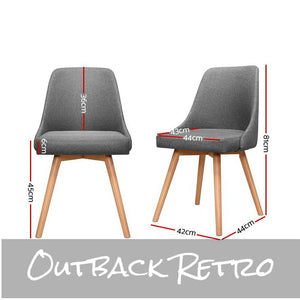 Artiss 2x Replica Dining Chairs Beech Wooden Timber Chair Kitchen Fabric Grey