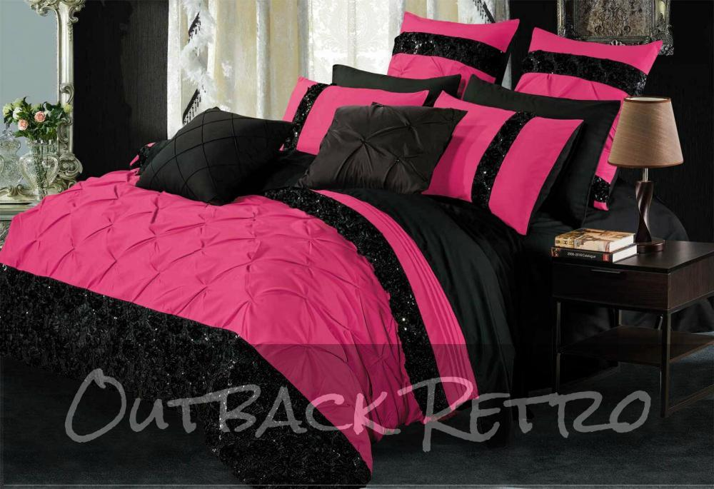 Super King Size Black & Hot Pink Sequins Quilt Cover Set (3PCS)