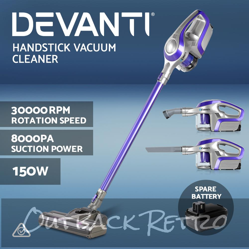 Devanti Handheld Vacuum Cleaner Cordless Stick Handstick Bagless Vac Spare Battery 150W Purple