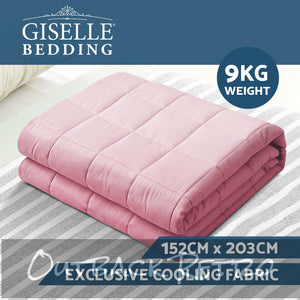 Giselle Weighted Blanket Adult 9KG Heavy Gravity Blankets Cooling Summer Pink