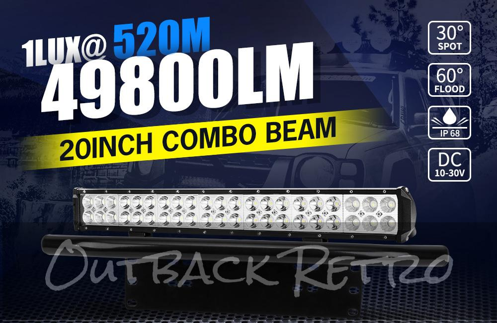 20Inch Cree LED Light Bar Spot Flood Work Driving Light + 23'' Number Plate Frame