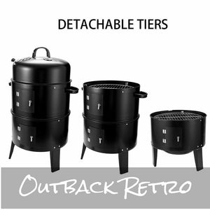 3In1 Portable Charcoal Vertical Smoker BBQ Grill Roaster Steel