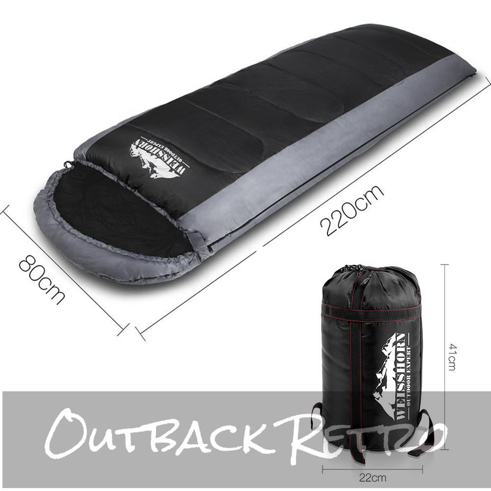 Weisshorn Single Thermal Sleeping Bag - Black & Grey