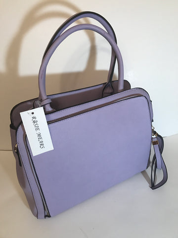 Leather Satchel Handbag ( Lavender)