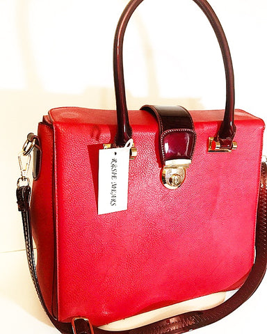 Leather Briefcase Handbag ( Red/Wine)