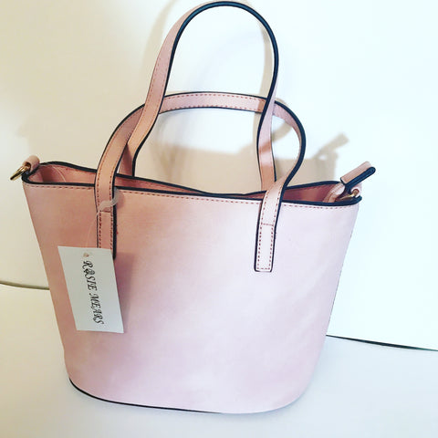 Leather Mini Tote Handbag ( Pink)