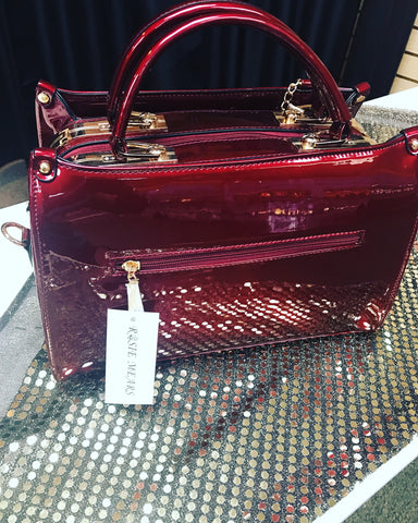 Patent Leather Satchel Handbag ( Wine)