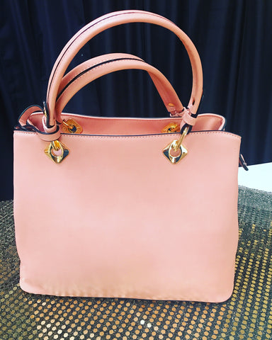 Leather Satchel Handbag (  Rose Pink)