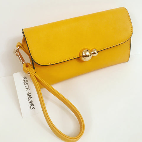 Wristlet Clutch Purse (Mustard Yellow)