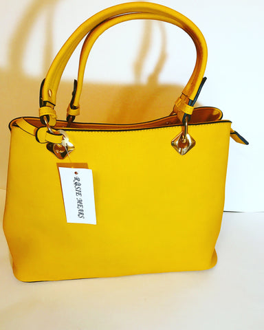 Leather Satchel Handbag ( Mustard Yellow)