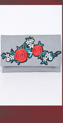 Floral Clutch purse ( Grey)