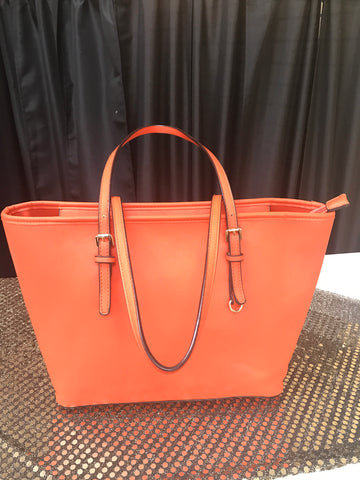Vinyl Tote Handbag ( Orange)