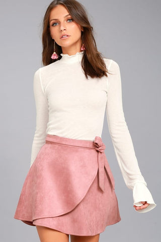 Mini mauve suede wrap skirt ( Blush)