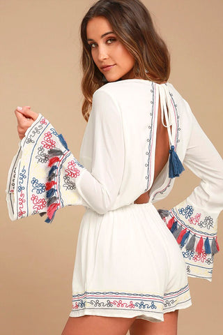 Island of Capri white long sleeve romper