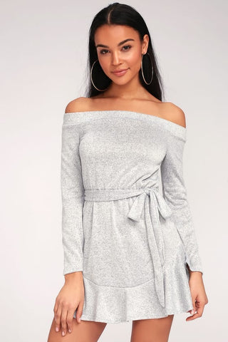 Heather Grey Off- The - Shoulder Dress