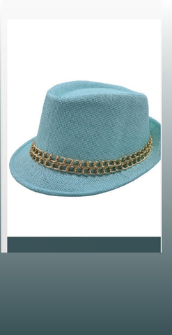 Straw Fedora Hat ( Mint Green)