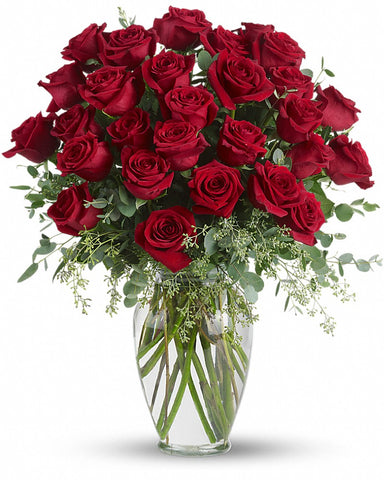 30 stems of long stemmed roses arranged in a clear vase locally in coto de caza, trabuco canyon, rancho santa margarita