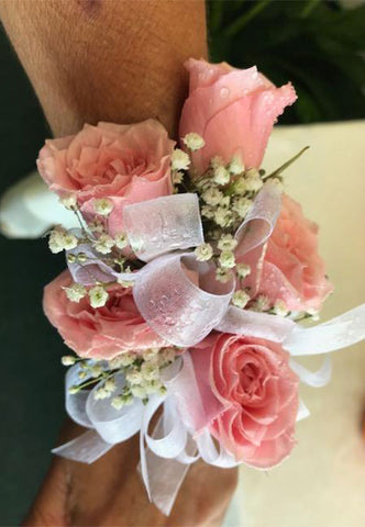 Blush color wrist corsage with matching ribbon for Prom, Winter Formal and wedding.