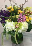 Spring mixed floral arrangement for birthday, anniversary, thank you, get well and more, locally delivered.
