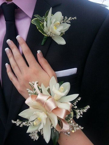 Cymbedium Orchid Corsage and Boutonniere