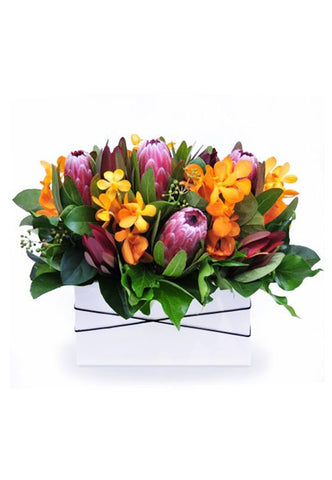 tropical blooms such as Mokara orchids and Proteas arranged in a ceramic vase