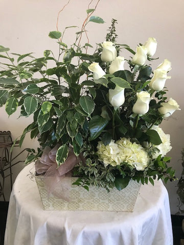 Plant with fresh cut flowers combo
