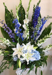 White and Blue Flower Bouquet Delivered Locally