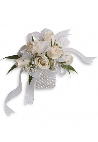 white wrist corsage for prom, winter formal, wedding
