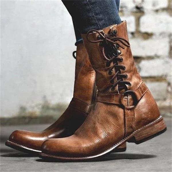 Women Vintage  Buckle Zipper Booties