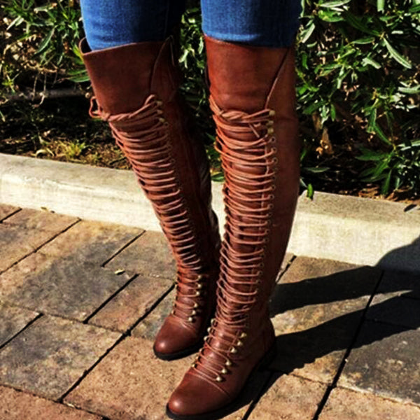 Women Vintage Round Toe Low Heel Zipper Boots