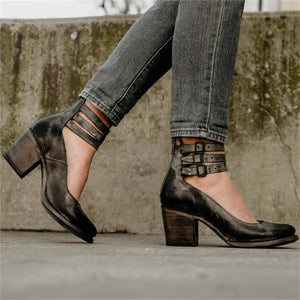 Women Vintage  Ankle Strap Buckle Zipper Booties