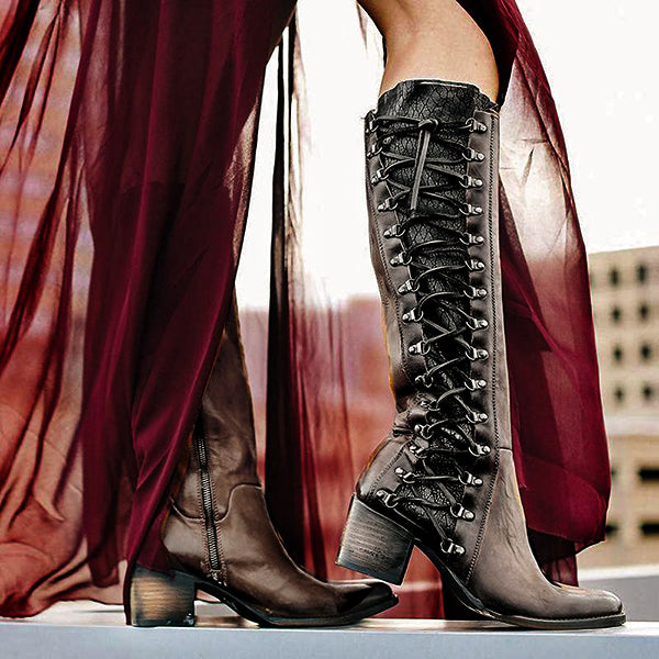 Women Vintage Lace Up Side Zipper Above Knee Boots