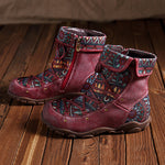 Women Vintage Ethnic Style Leather Booties