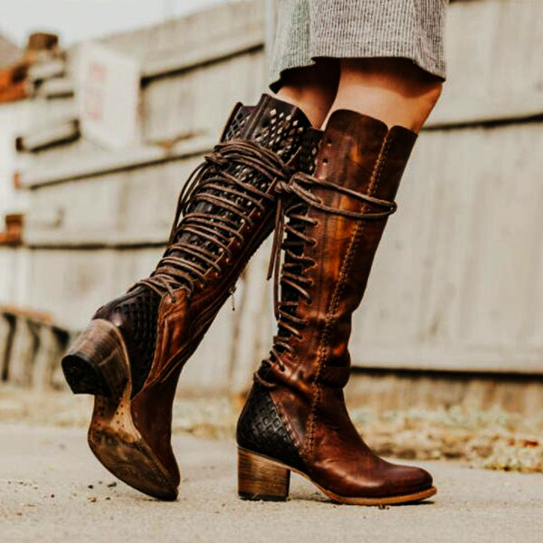 Women Vintage High Heel Lace-Up Plus Size Boots