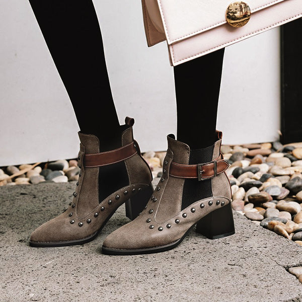 Punk Style Stud Buckle Casual Booties