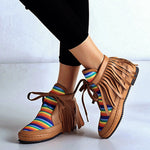 Tassel Lace Up Flat Heel Rainbow Booties