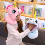 Unicorn Hooded Animal Travel Neck Pillow