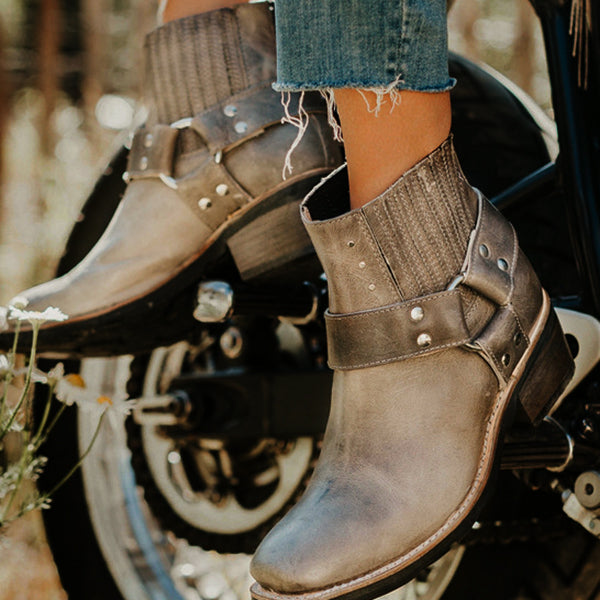 Vintage Studs Buckle Ankle Motorcycle Booties