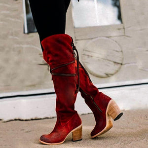 Women Round Toe High Heel Zipper Plus Size Winter Boots