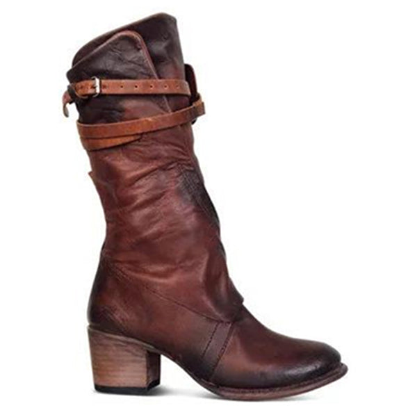 Vintage Low Heel Zipper Mid-calf Boots