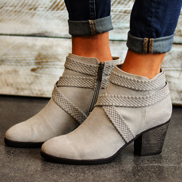 Women Round Toe High Heel Zipper Cross Strap Booties