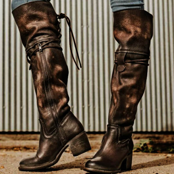 Women Vintage Side Zipper Lace Up Boots