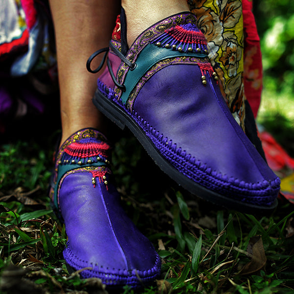 Women Handmade Comfortable Round Toe Jungle Boots