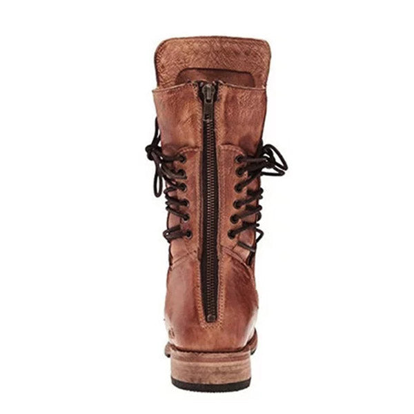 Vintage Back Zipper Lace-Up Holiday Mid-calf Boots