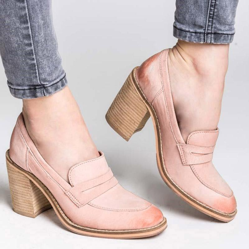 Women Chunky Heel All Season Casual Loafers