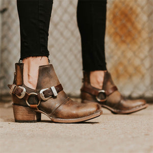 Women Vintage Square Toe Chunky Heel Zipper Plus Size Booties