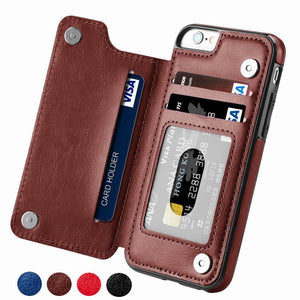 PU Leather Flip Multi Card Holders Phone Case For iPhone and Samsung