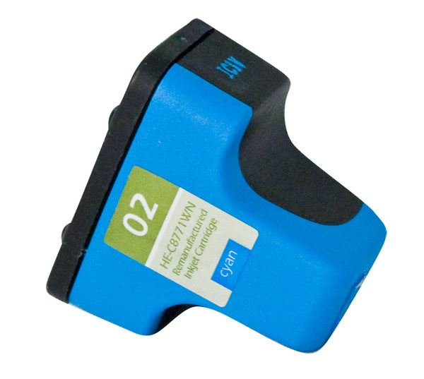 02 Hewlett-Packard Inkjet Remanufactured Cartridge, Cyan, 10ML