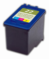 22 Hewlett-Packard Inkjet Remanufactured Cartridge, CMY, 15ML